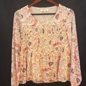 Rose + Olive Tunic Top Womens S Blouse Floral